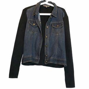 Hybrid denim and sweater studded Jean jacket